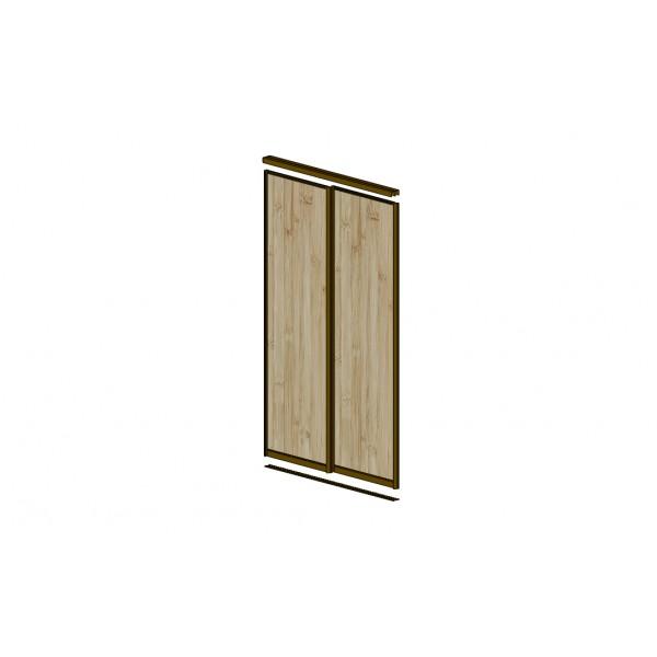 Дверь для встроенного шкафа купе ASH SHIMO С Разделительной полосой, профиль: матовое серебро 7598