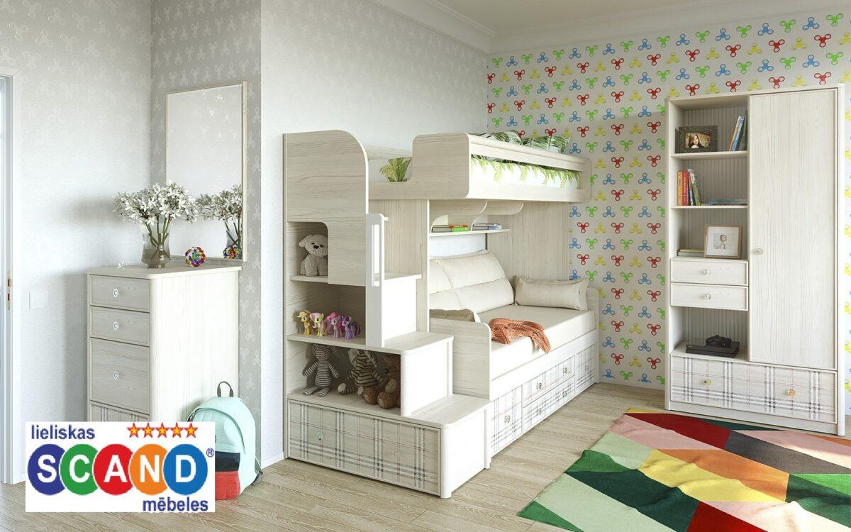 Divstāvu gulta bērniem mēbeļu kolekcija CAMBRIDGE–3 C11