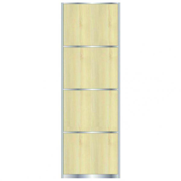 Дверь для встроенного шкафа купе с разделительной линией OAK PALLADA, профиль матовое серебро 7098