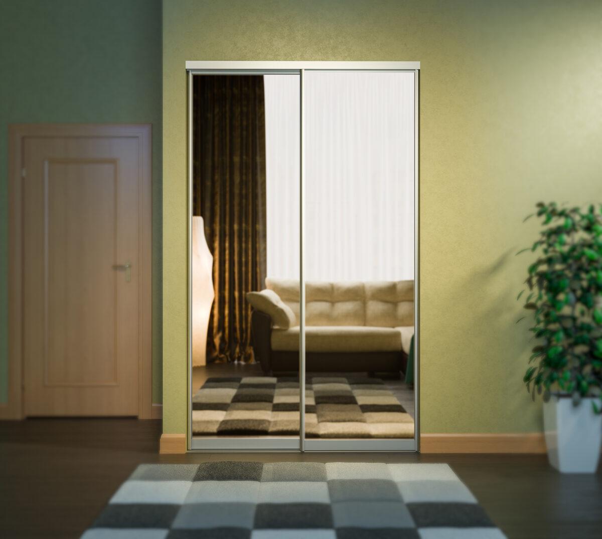 Дверь для встроенного шкафа купе с зеркалом, профиль матовая бронза 5069
