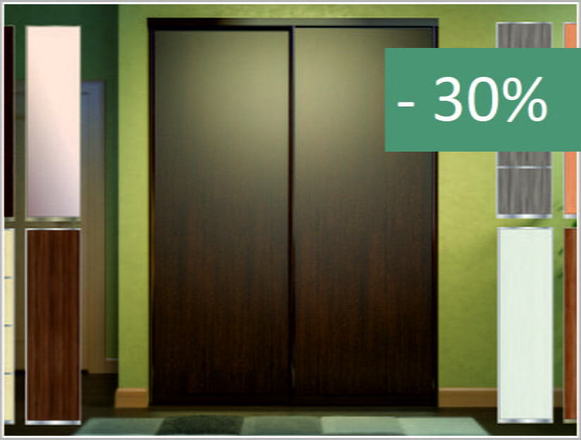 Sliding door for wardrobe with fittings
