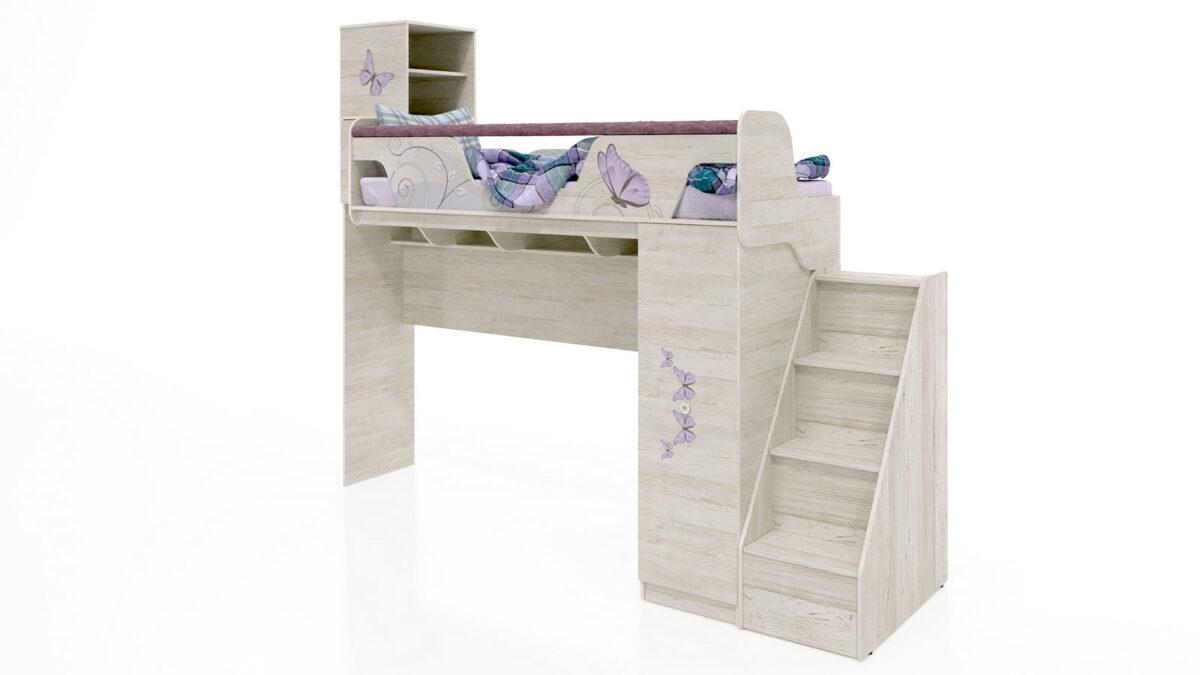 Divstāvu gulta bērniem LADY-4 + Kumode-Kāpnes REGATTA-4 (WINTERBERG)