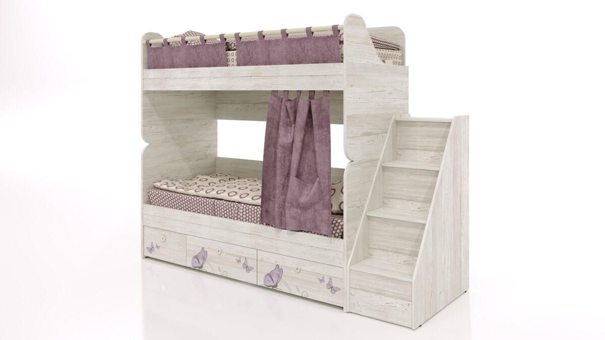 Divstāvu gulta bērniem LADY-6-2 + Kumode-Kāpnes REGATTA-4 (WINTERBERG)